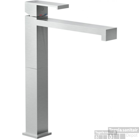 B&w-luxury Angusti Wastafelkraan Met Click Waste Hoog Model Brushed Nickel