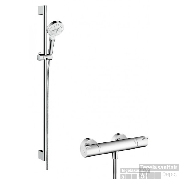 Hansgrohe Ecostat 1001cl Thermostaat +stang 90 +crometta Vario Handd Wit-chroom
