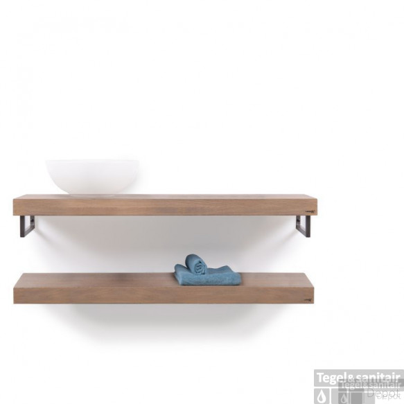 Looox Wooden Collection Duo Wooden Base Shelf 120 Cm.handdoekhouders Rvs Eiken-geborsteld Rvs