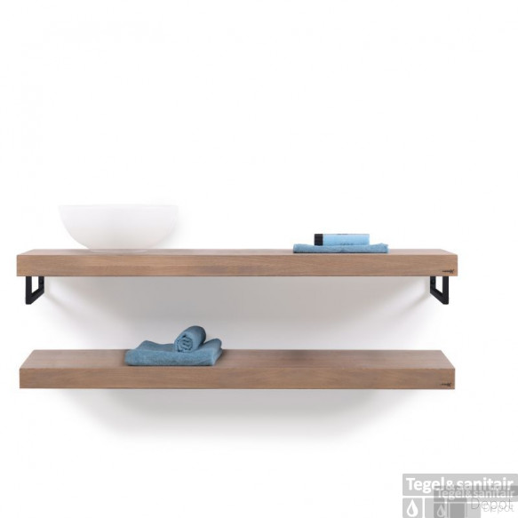 Looox Wooden Collection Duo Wooden Base Shelf 140 Cm.handdoekhouders Zwart Eiken-mat Zwart