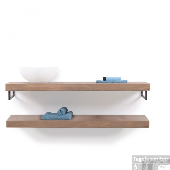 Looox Wooden Collection Duo Wooden Base Shelf 140 Cm.handdoekhouders Rvs Eiken-geborsteld Rvs