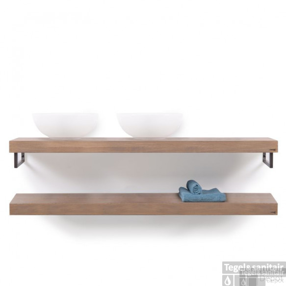 Looox Wooden Collection Duo Wooden Base Shelf 160 Cm.handdoekhouders Rvs Eiken-geborsteld Rvs