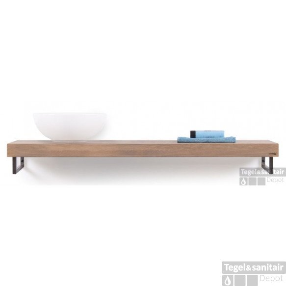 Looox Wooden Collection Solo Wooden Base Shelf 140 Cm.handdoekhouders Rvs Eiken-geborsteld Rvs