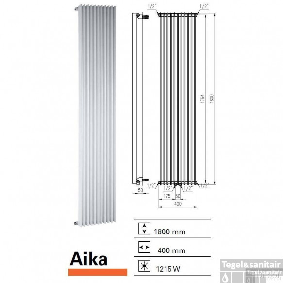 Designradiator Boss & Wessing Aika 1800 x 400 mm (13 kleuren)
