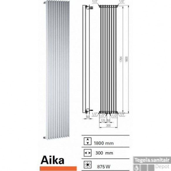 Designradiator Boss & Wessing Aika 1800 x 300 mm (13 kleuren)