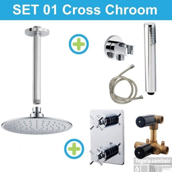 Wiesbaden inbouw regendouche set 01 Cross Chroom