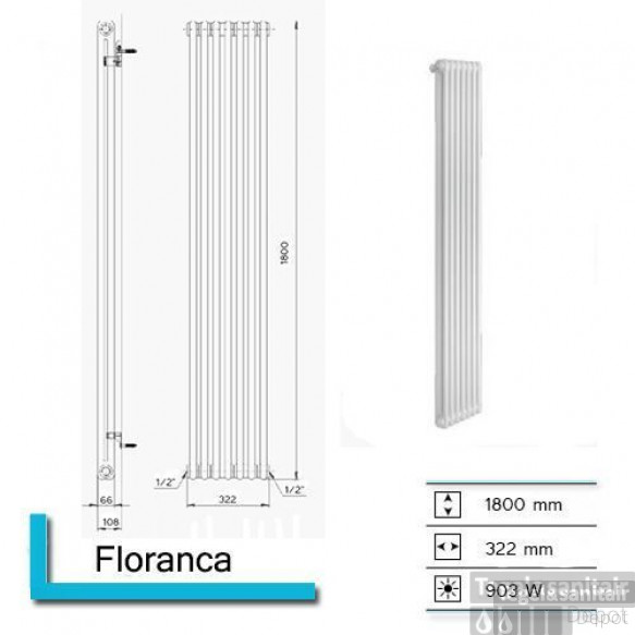 Designradiator Boss & Wessing Floranca 1800 x 322 mm (12 kleuren)