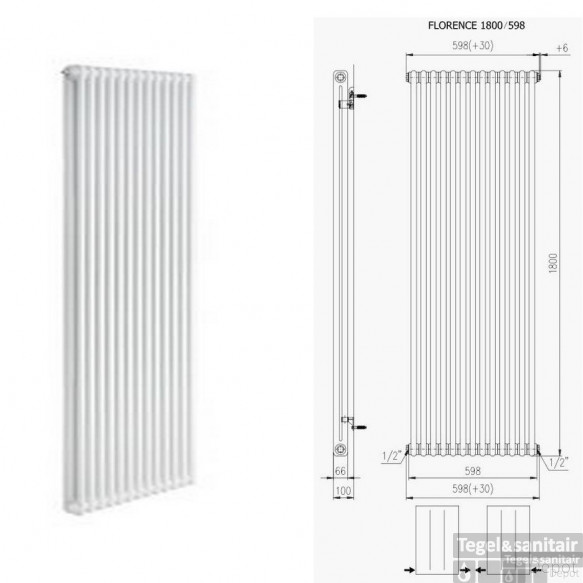 Designradiator Boss & Wessing Floranca 1800 x 600 mm (12 kleuren)