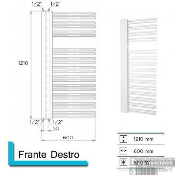 Designradiator Boss & Wessing Franto Dastro 1210 x 600 mm