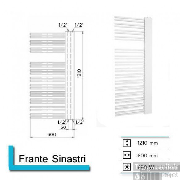 Designradiator Boss & Wessing Franto Sinistro 1210 x 600 mm