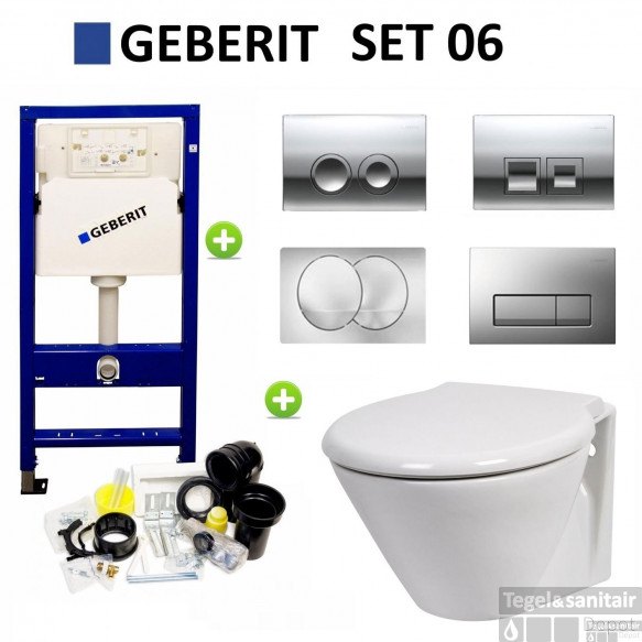 Geberit up100 set06 Laufen Royal met Delta drukplaten