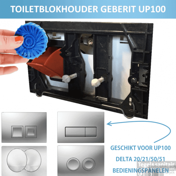 Toiletblokhouder tbv Geberit up100 (delta drukplaten)