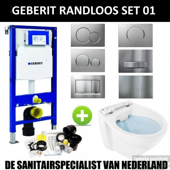 Geberit UP320 Toiletset set01 Boss & Wessing Design Randloos met Sigma drukplaat