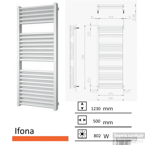 Badkamerradiator Ifona 1230 x 500 mm wit