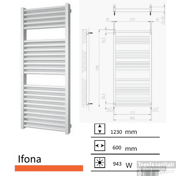 Badkamerradiator Ifona 1230 x 600 mm Mat wit