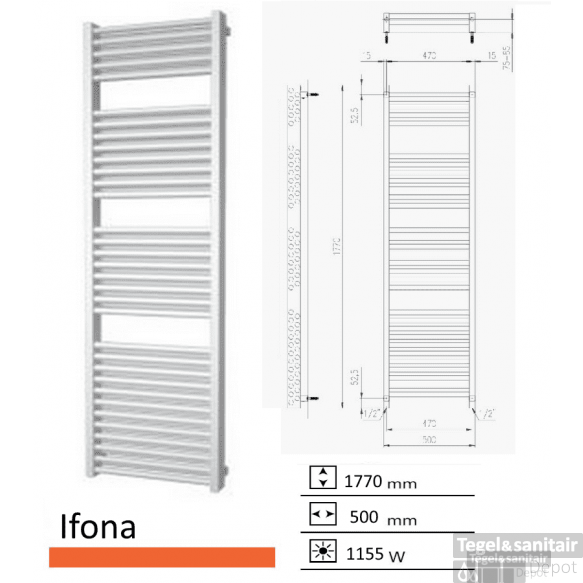 Badkamerradiator Ifona 1770 x 500 mm Zwart grafiet (Black graphite)