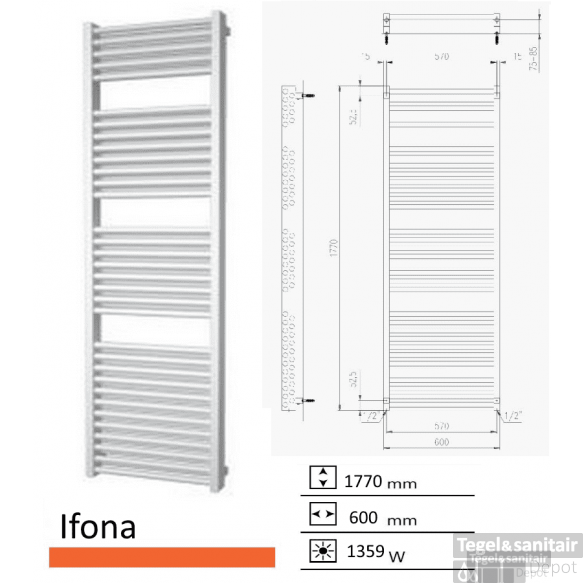 Badkamerradiator Ifona 1770 x 600 mm Mat wit