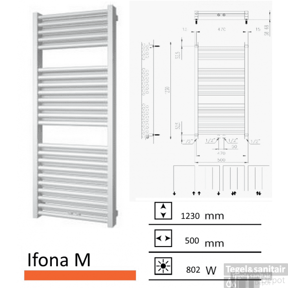 Badkamerradiator Ifona M 1230 x 500 mm Zwart grafiet (Black graphite)