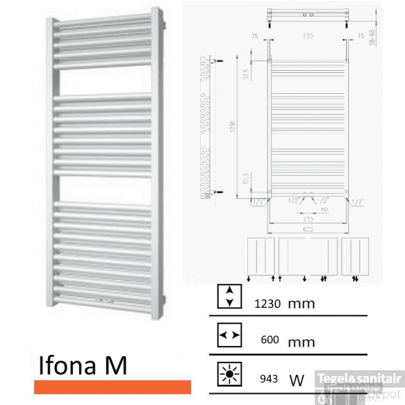 Badkamerradiator Ifona M 1230 x 600 mm Antraciet metallic