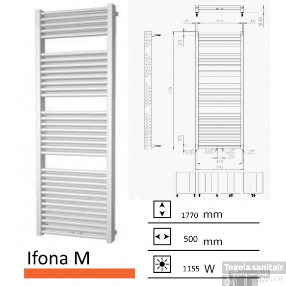 Badkamerradiator Ifona M 1770 x 500 mm Antraciet metallic