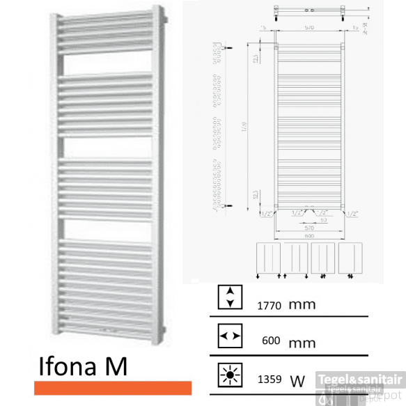 Badkamerradiator Ifona M 1770 x 600 mm Antraciet metallic