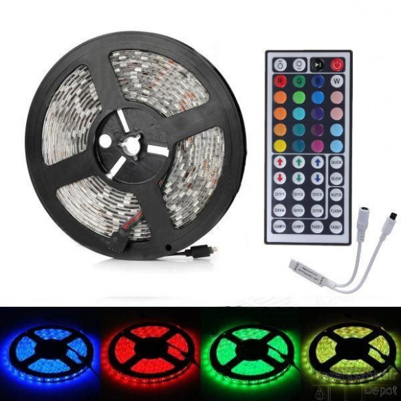 RGB LED strip met IR Afstandsbediening & Adapter (5M, incl. controller & voeding)