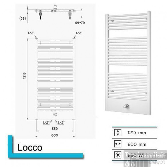 Designradiator Boss & Wessing Locco 1215 x 600 mm (13 kleuren)