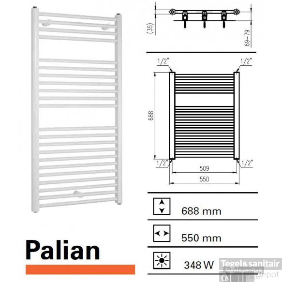 Handoekradiator Boss & Wessing Palian 688 x 500 mm (13 kleuren)