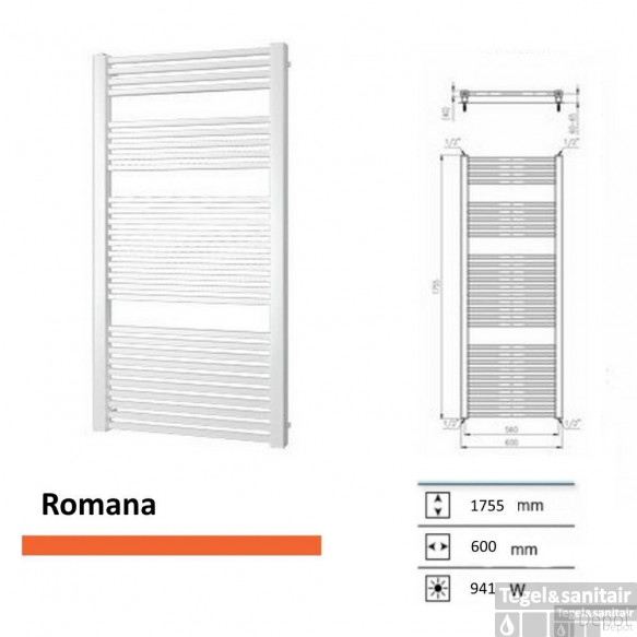 Designradiator Boss & Wessing Romana 1755 x 600 mm