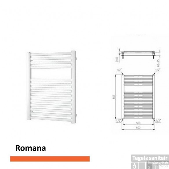 Designradiator Boss & Wessing Romana 805 x 600 mm