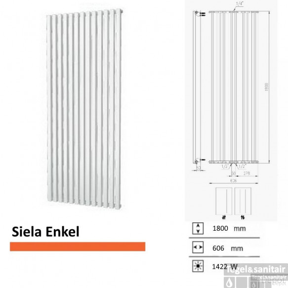 Handdoekradiator Boss & Wessing Siela Enkel 1800 x 606 mm