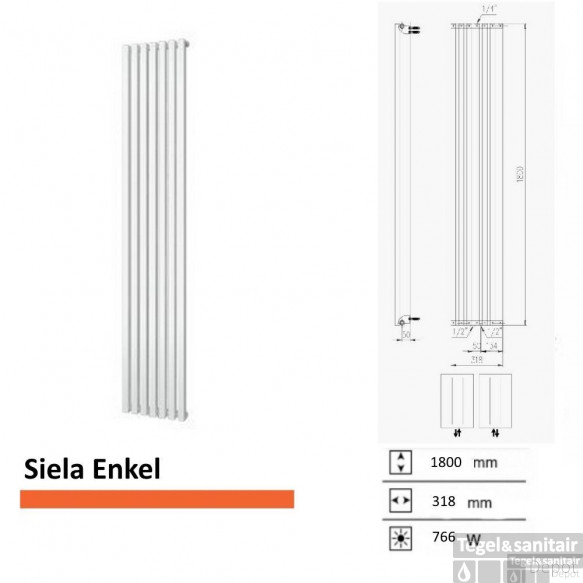 Handdoekradiator Boss & Wessing Siela Enkel 1800 x 318 mm