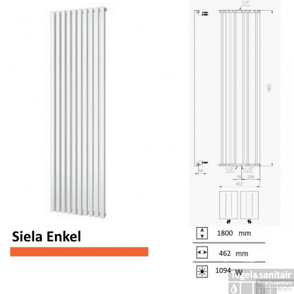 Handdoekradiator Boss & Wessing Siela Enkel 1800 x 462 mm