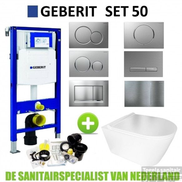 Geberit UP320 Toiletset Set50 BWS Plana Rimless Glans Wit Met Sigma Drukplaat
