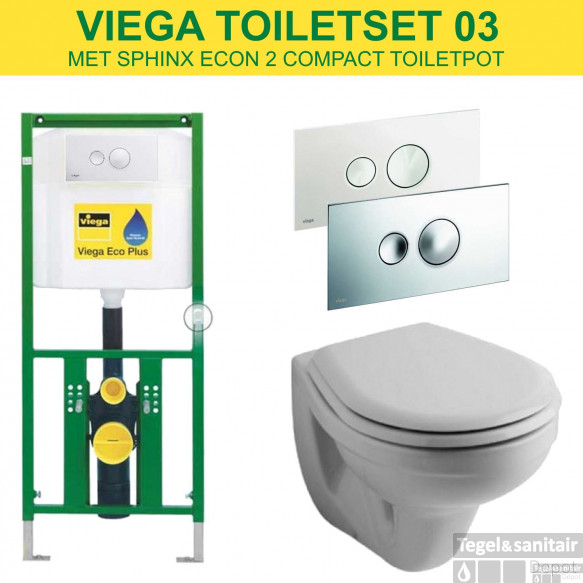 Viega EcoPlus Toiletset Set03 Sphinx Econ met Visign for Style 10 drukplaat