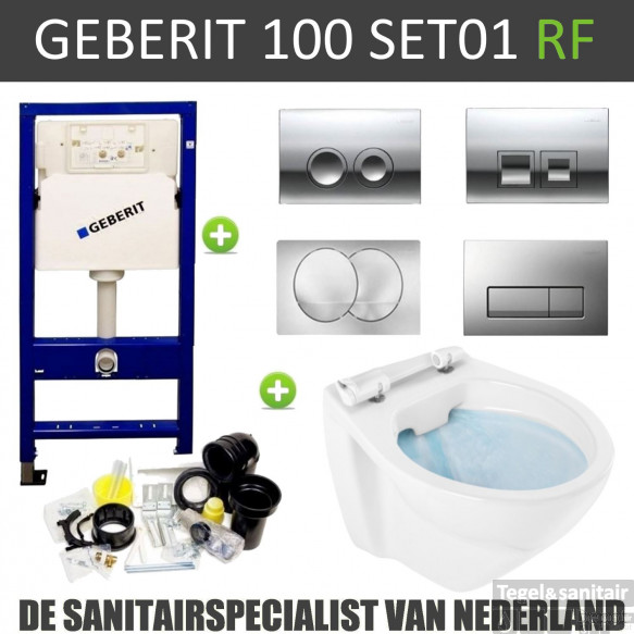 Geberit UP100 Randloos Toiletset set01 Boss & Wessing Design met Delta drukplaat