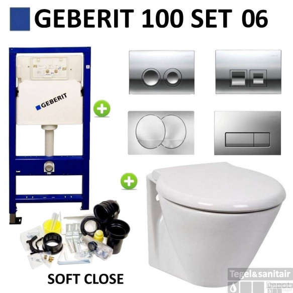 Geberit UP100 Toiletset set06 Laufen Royal Met Delta Drukplaat