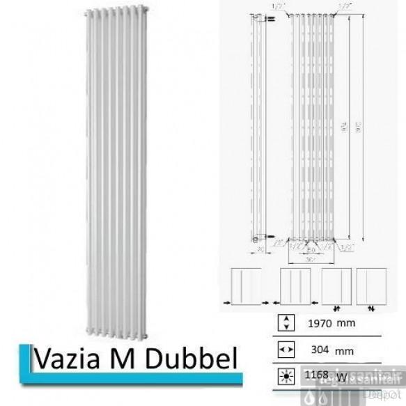 Designradiator Vazia M Dubbel 1970 x 304 mm Antraciet metallic