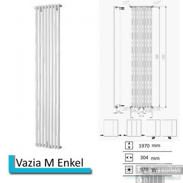 Handdoekradiator Vazia M Enkel 1970 x 304 mm Antraciet metallic