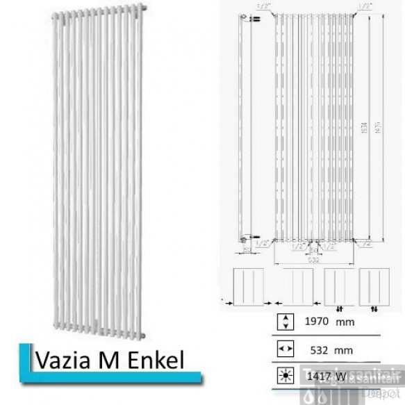 Handdoekradiator Vazia M Enkel 1970 x 532 mm Antraciet metallic