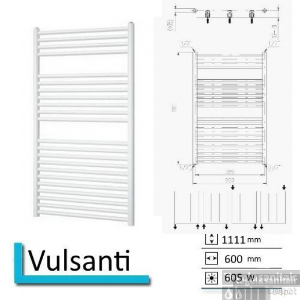 Handdoekradiator Vulsanti 1111 x 600 mm Antraciet metallic