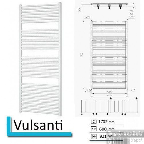Handdoekradiator Vulsanti 1702 x 600 mm Zwart grafiet (Black graphite)
