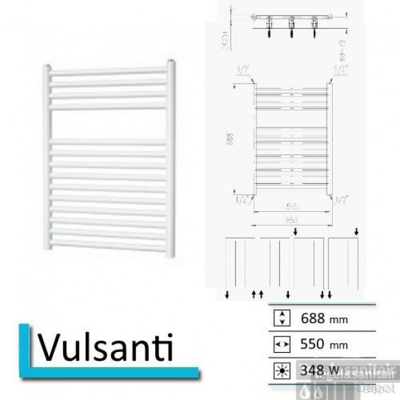 Handdoekradiator Boss & Wessing Vulsanti 688 x 550 mm