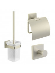 B&w-luxury Spicey Toiletset Met Haak - Closetrol En Borstelhouder Brushed Nickel
