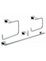 Grohe Essentials Cube Accessoireset 4-in-1 (haak-handdh-rolh-ring) Chroom