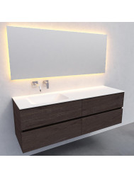 Badkamermeubel Solid Surface BWS Oslo 150x46 cm Links Wood Dark Brown 4 Laden (0 kraangaten)