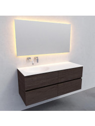 Badkamermeubel Solid Surface BWS Stockholm 120x46 cm Links Wood Dark Brown 4 Laden (0 kraangaten)