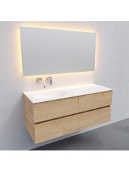 Badkamermeubel Solid Surface BWS Stockholm 120x46 cm Links Wood Washed Oak 4 Laden (0 kraangaten)
