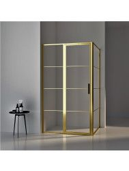 BWS Douchecabine Frame 90x100 cm 8 mm NANO Glas Geborsteld Messing Goud