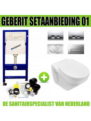 Geberit UP100 Toiletset set01 Design met Delta drukplaten